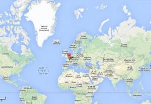 carte du monde et orleans
